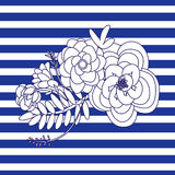 Marine illustration with flowers on the striped background Stock Image