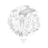 Marine Illustrations Set Liten gullig tecknad filmsjöjungfru, rolig fisk, sjöstjärna, flaska med en anmärkning, alger, olika skal Royaltyfria Bilder