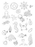 Marine illustrations set. Little cute cartoon funny fish, starfish, bottle with a note, algae, various shells and crab. Sea theme. isolated objects on white royalty free illustration