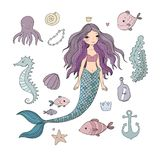 Marine illustrations set. Little cute cartoon mermaid, funny fish, starfish, bottle with a note, algae, various shells and crab. Sea theme. isolated objects on Stock Photography
