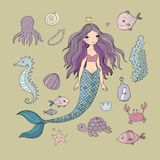 Marine illustrations set. Little cute cartoon mermaid, funny fish, starfish, bottle with a note, algae, various shells and crab. Sea theme. isolated objects on Royalty Free Stock Photos