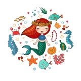 Marine illustrations set. Little cute cartoon mermaid, funny fish, starfish, bottle with a note, algae, various shells and crab. Sea theme. isolated objects on Stock Images