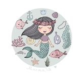 Marine illustrations set. Little cute cartoon mermaid, funny fish, starfish, bottle with a note, algae, various shells and crab. Sea theme. isolated objects on Royalty Free Stock Images