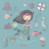 Marine illustrations set. Little cute cartoon mermaid, funny fish, starfish, bottle with a note, algae, various shells and crab. Sea theme. isolated objects on Royalty Free Stock Photo