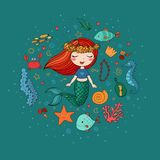 Marine illustrations set. Little cute cartoon mermaid, funny fish, starfish, bottle with a note, algae, various shells and crab. Sea theme. isolated objects on Stock Photo
