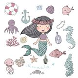 Marine illustrations set. Little cute cartoon mermaid, funny fish, starfish, bottle with a note, algae, various shells and crab. Sea theme. isolated objects on Stock Photos