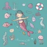 Marine illustrations set. Little cute cartoon mermaid, stock photography