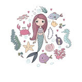 Marine illustrations set. Little cute cartoon mermaid, funny fish, starfish, bottle with a note, algae, various shells Stock Photography