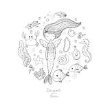 Marine illustrations set. Little cute cartoon mermaid, funny fish, starfish, bottle with a note, algae, various shells. And crab. Sea theme. isolated objects on stock illustration
