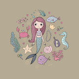 Marine illustrations set. Little cute cartoon mermaid, funny fish, starfish, bottle with a note, algae, various shells. And crab. Sea theme. isolated objects on Stock Photos