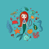 Marine illustrations set. Little cute cartoon mermaid, funny fish, starfish, bottle with a note, algae, various shells. And crab. Sea theme. isolated objects on Royalty Free Stock Photo