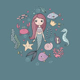 Marine illustrations set. Little cute cartoon mermaid, funny fish, starfish, bottle with a note, algae, various shells. And crab. Sea theme. isolated objects on Royalty Free Stock Images