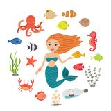 Marine illustrations set. Little cute cartoon mermaid, funny fish, starfish, bottle with a ship, algae, crab, seahorse. Octopus. Sea theme. Isolated objects on Stock Photos