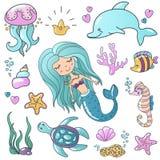 Marine illustrations set. Little cute cartoon mermaid siren, tropic fish, sea starfish, various shells, sea horse. Dolphin and crab. Vector sea theme Stock Photos