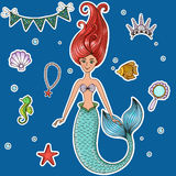 Marine illustrations set. Mermaid, crown, beads, fish, seahorse, shell, mirror Vector illustration Grouped isolated objects on a white background Labels Stock Images
