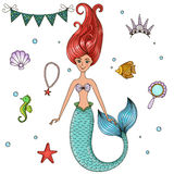 Marine illustrations set. Mermaid, crown, beads, fish, seahorse, shell, mirror Vector illustration Grouped isolated objects on a white background Clipart Royalty Free Stock Image