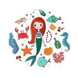 Marine Illustrations Set Peu de sirène mignonne de bande dessinée, poisson drôle, étoiles de mer, bouteille avec une note, algues Images stock