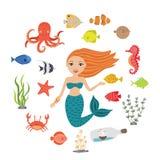 Marine Illustrations Set Poca sirena linda de la historieta, pescado divertido, estrellas de mar, botella con una nave, algas, ca Fotos de archivo