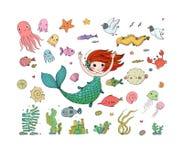 Marine Illustrations Set Poca sirena sveglia del fumetto immagini stock libere da diritti