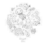 Marine Illustrations Set Pocos pescados divertidos de la historieta linda, estrellas de mar, botella con una nota, algas, diversa Fotos de archivo libres de regalías
