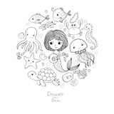 Marine Illustrations Set Pouca sereia bonito dos desenhos animados, peixe engraçado, estrela do mar, garrafa com uma nota, algas, Imagens de Stock