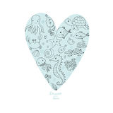 Marine Illustrations Set Poucos peixes engraçados dos desenhos animados bonitos, estrela do mar, garrafa com uma nota, algas, vár Foto de Stock Royalty Free