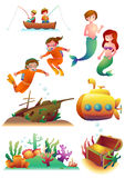 Marine Illustrations Set. Set of vector illustrations of marine-related items: fishermen on a boat, mermaid boy, mermaid girl, diver boy, diver girl, an Stock Photos