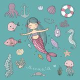 Marine Illustrations Set Weinig leuke beeldverhaalmeermin, stock fotografie