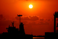 Marine. This image is about sunrise at the edge of marine to provide a light to transport Royalty Free Stock Image