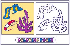 Marine inhabitants coloring pages4. Coloring with fish guppies, coral and shrimp. The book for destkogo creativity.. Black-and-white drawing from lines for Royalty Free Stock Image