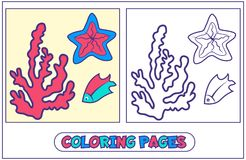 Marine inhabitants coloring pages. Coloring picture with coral, sea star and fish. Character for destkogo creativity. Black-and-white drawing from lines for Royalty Free Stock Images