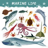 Marine Inhabitants Decorative Icons Set Photo libre de droits
