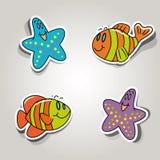 Marine inhabitants. Vector set of icons on the marine inhabitants theme Stock Photo