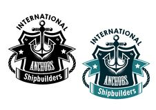 Marine international shipbuilders banner. Marine international shipbuilders retro banner with anchor, rope and ribbon for nautical logo design Stock Images