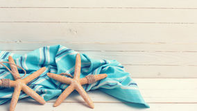 Marine item  and blue towel Stock Photos