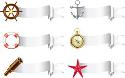 Marine items with empty ribbon banners Stock Photo