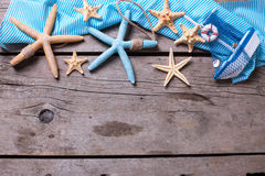 Marine items on  vintage wooden background. Royalty Free Stock Image