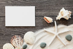 Marine items on a wooden boards against sandy background Royalty Free Stock Photos
