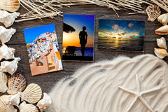 Marine items  wooden boards against sandy background, blank Stock Image