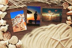 Marine items on a wooden boards against sandy background. Blank sea  cards Royalty Free Stock Photo