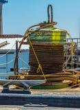 Marine jute rope. A spool of marine jute rope sling at the sea port Stock Images