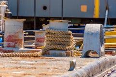 Marine jute rope. A spool of marine jute rope sling at the sea port Stock Photo