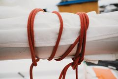Marine knot double red rope Royalty Free Stock Image