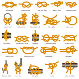Marine knots and hitches types vector isolated icon Stock Photos