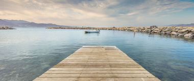 Marine lagoon and stone walking pier in Eilat Royalty Free Stock Photo