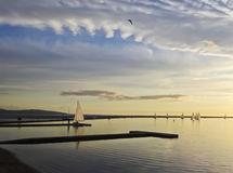 Marine Lake bij Schemer, het Westen Kirby royalty-vrije stock fotografie