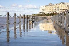 Marine Lake walkway at high tide,Weston Super Mare, Somerset Royalty Free Stock Images