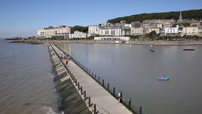 Marine Lake Weston-super-Mare Somerset in summer stock video footage