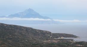 Marine landscape, Aegean sea. Marine landscape with Athos peninsula in the distance stock image