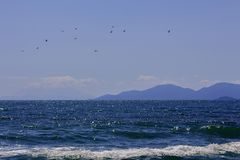 Marine landscape Through the blue water to the silhouettes of mountain hills and birds flying over the sea. View from the beach of the campsite `Asprovalta` royalty free stock images